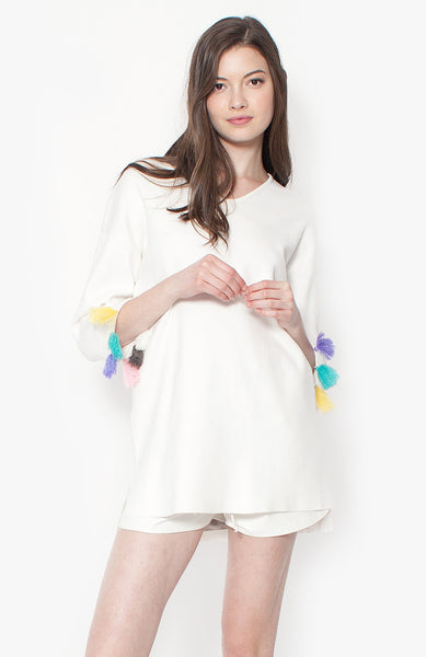 Felicity Tassel Sweater - White