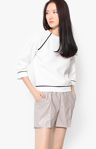 Tess Contrast Blouse - White