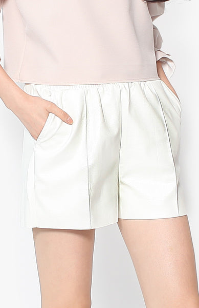 Peyton Leather Shorts - White