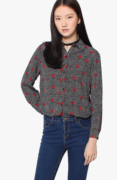 Wren Stars Blouse - Black