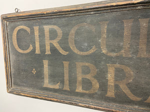 Early 20th century Circulating Library wooden sign