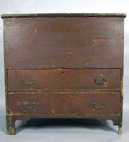 18th c American mule chest in the original paint