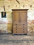 19th century North Country linen press in original oak scumble paint finish