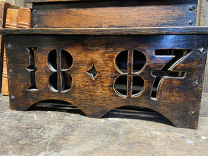 Large oak spoon rack dated 1887