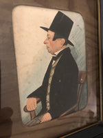 Naive portrait of a gentleman in a top hat c.1850