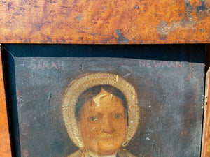 Primitive portrait of Sarah Newman  - sentenced to death for robbery at The Old Bailey later transported to Tasmania