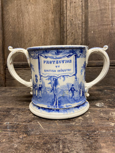 Large 19th century two handled Staffordshire mug c. 1860