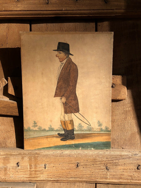 Naive watercolour of Dr Phillips of Malpas c 1830