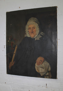 19th c provincial portrait of a lady & original cane