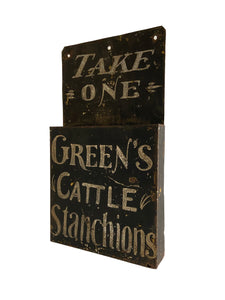A rare early 20th c American tole leaflet holder in untouched condition