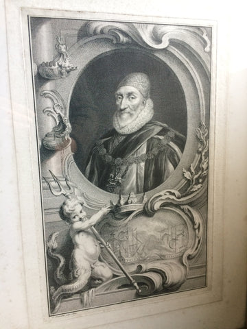 A rare proof before title engraving of 1st Earl of Nottingham from Tusmore House in 4th Earl of Effingham's collection