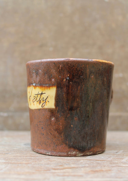 "Slipware mug by Isaac Button of Soil Hill, Halifax- ""Hetty"""