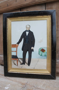 Mid 19th c American folk art portrait of John Gilligan of Kentucky