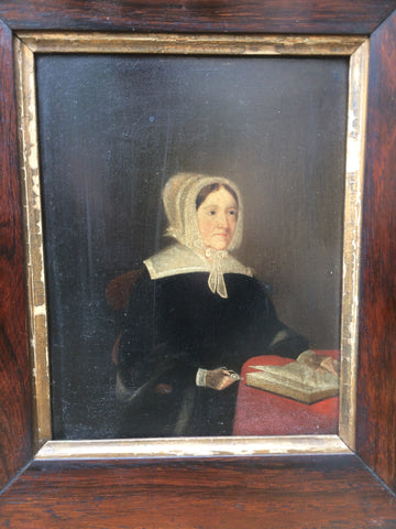 Welsh school, oil on board, portrait of a lady c. 1840