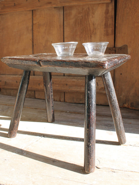 A primitive  George III  oak stool