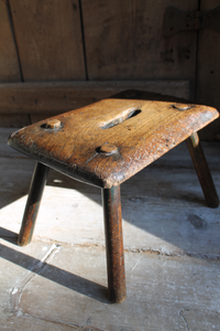 Early 19th century primitive elm stool