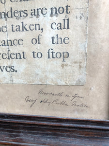 Extremely rare original 18th century English pickpocket notice