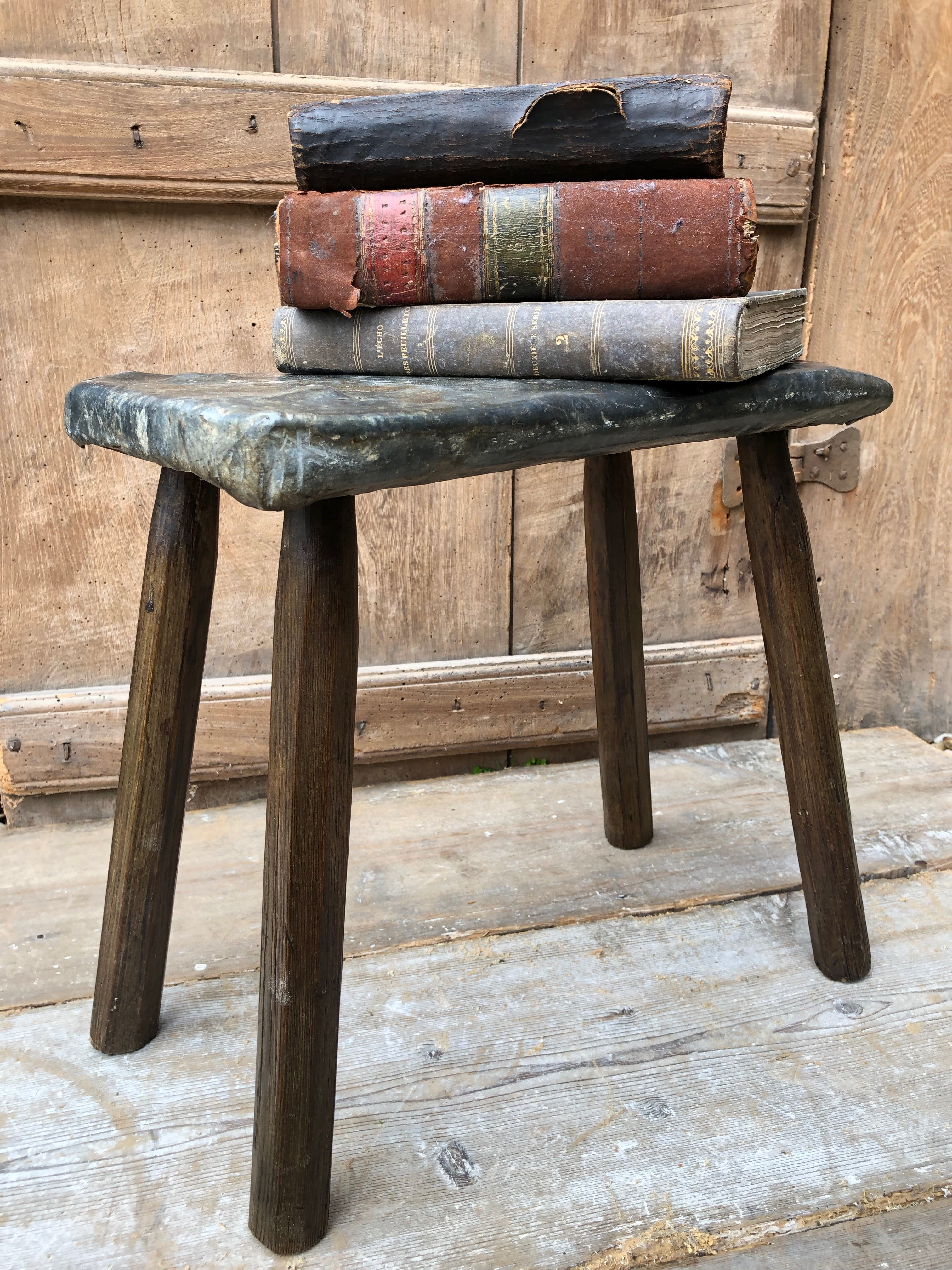 Unusual lead topped 19th century stool