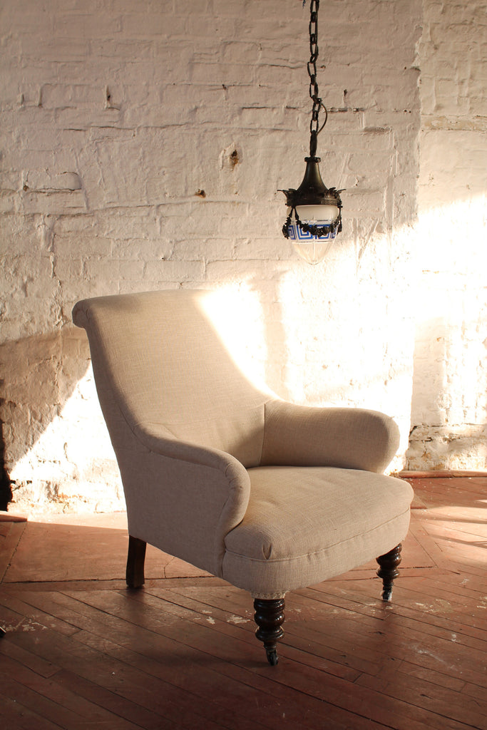 19th c armchair freshly re-upholstered