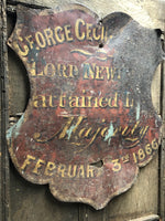 Unsual 19th century toleware sign for 4th Earl of Bradford
