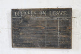 19th century wooden 'Officers on leave' painted police sign