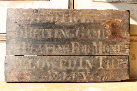 Rare English wooden tavern skittle alley sign Horsham