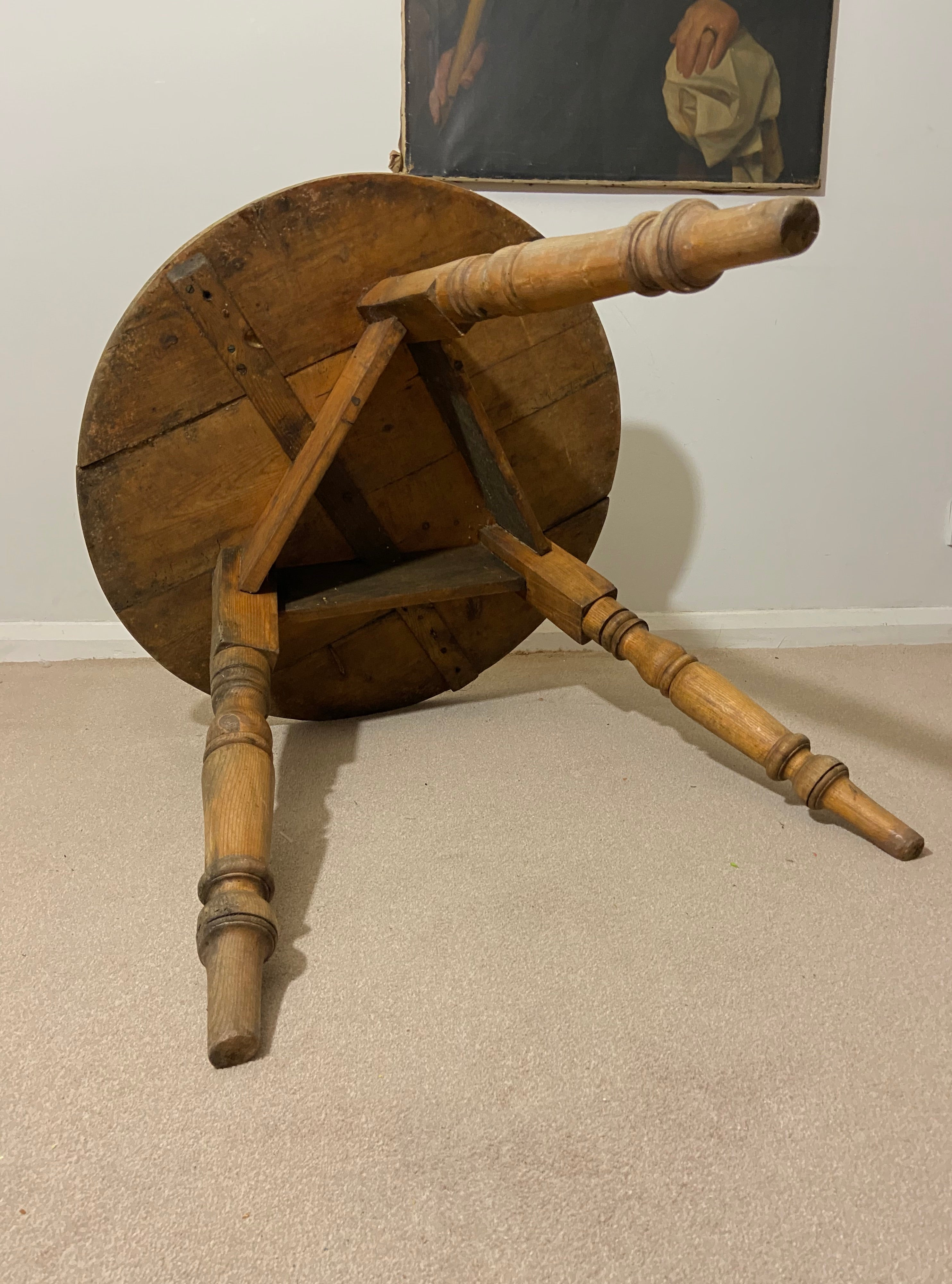 19th c pine cricket table