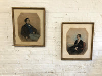 Pair of portraits of husband & wife from North Hykeham, Lincolnshire, 1848