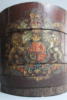 19th century wooden bucket with Royal coat of arms
