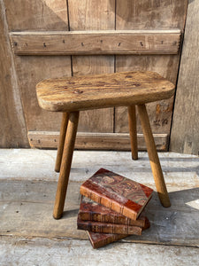 Large George III  oak and ash stool
