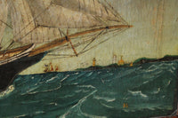 Primitive study of a ship, oil on canvas