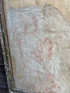 A Georgian red chalk study of a lady and child