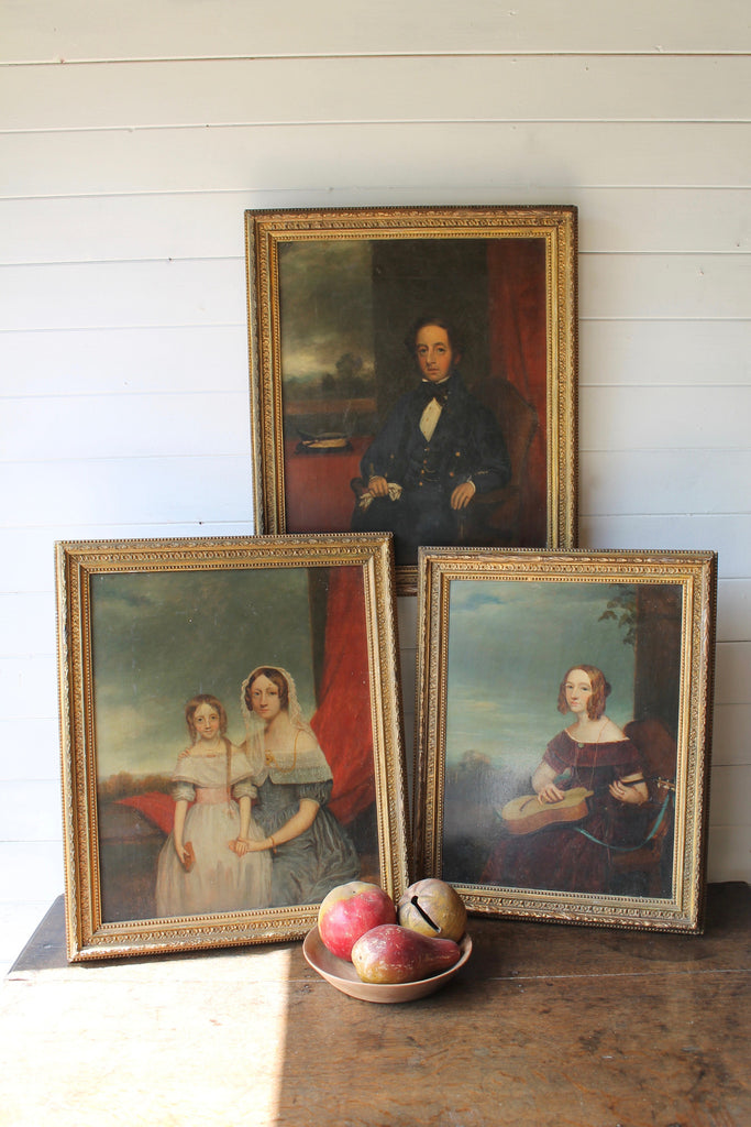 Trio of mid 19th c portraits of the Quantock family of Somerset