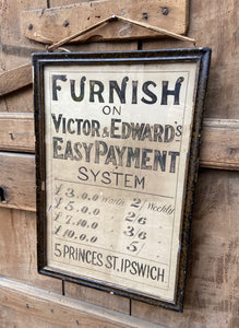 Original Victorian furniture Suffolk shop advertising poster c. 1894