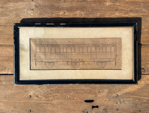 A draughtsman's orginal pen & ink drawing of a railway carriage c. 1890
