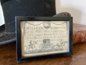 A George III trade card for William Boswood of London, stable keeper