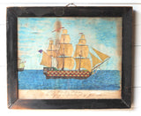 An 1844 naive school pen and watercolour study of a ship leaving Naples - SOLD