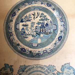 A very fine Irish watercolour study of a willow pattern plate, Cork, 1854