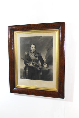 Mid 19th c engraving of Admiral Josias Rowley in original burr walnut frame