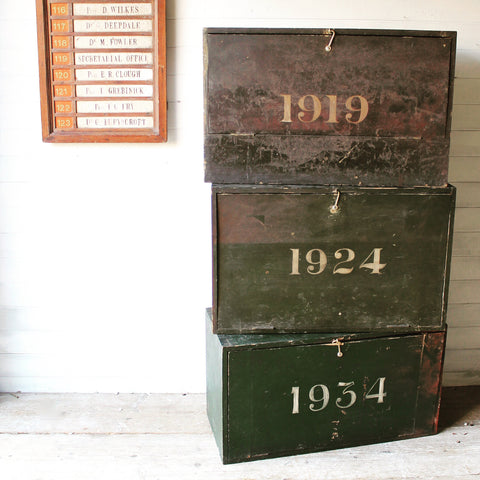 Wooden deed boxes from a Scottish solicitor's office