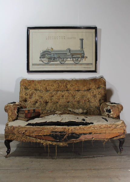 Large 19th century French pen and watercolour of a locomotive