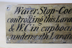19th century lead English country house  water closet sign