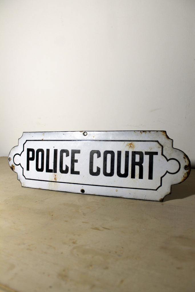 1930s enamel Police Court sign