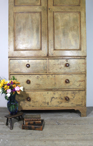 Large Regency linen press in original paint