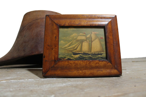 SOLD - Mid 19th c oil on copper study of a British ship