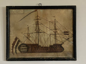 A fine Early 19th century primitive study of a ship
