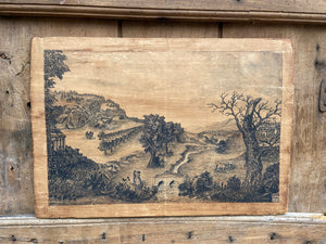A George III pen and ink drawing of an English countryside scene by Richard Leech