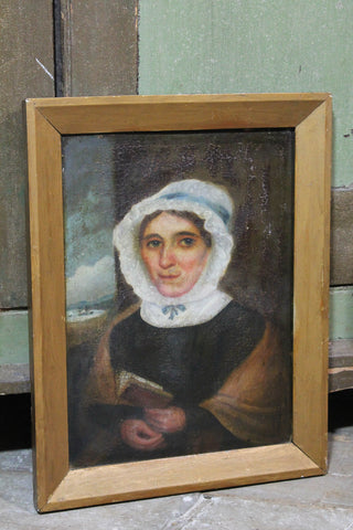 Primitive school oil on panel  portrait of a sea captain's wife c. 1840