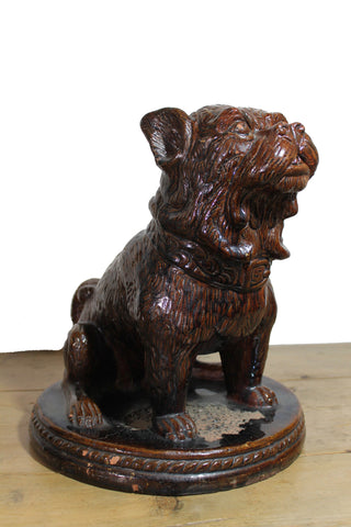 19th c treacle glazed French bulldog  38 cm high