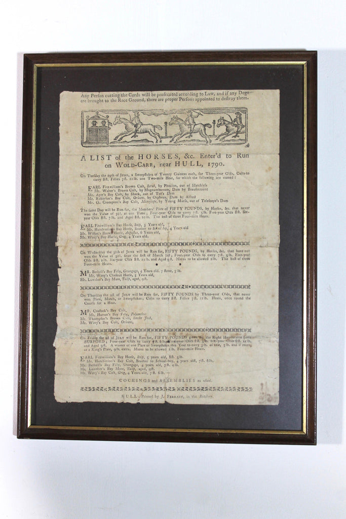 Late 18th century horse race card or handbill